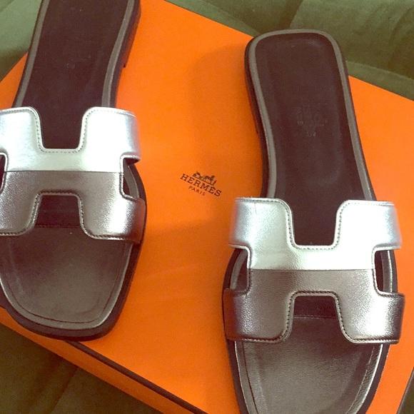 Hermes Shoes - Hermès Oran Metallic Sandals